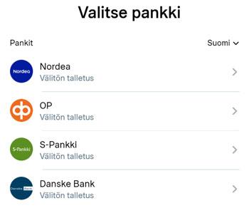 Valitse oma pankkisi Trustlyn valikon kautta
